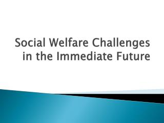Social Welfare Challenges in the Immediate Future