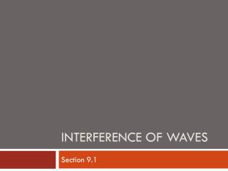 Interference of Waves