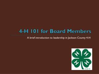 4-H 101 for Board Members