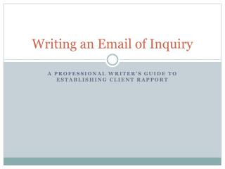 Writing an Email of Inquiry