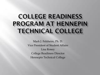College Readiness Program at Hennepin Technical College