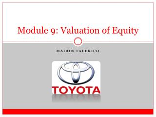 Module  9 :  Valuation  of Equity