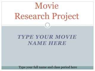 Movie  Research Project