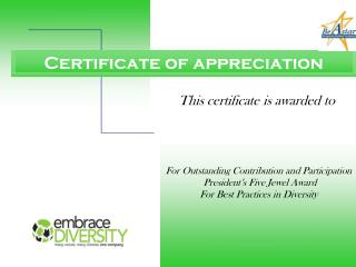 This certificate is awarded to