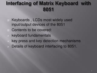 Interfacing of Matrix Keyboard  with 8051