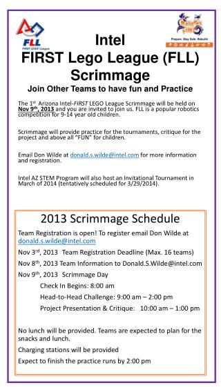 Intel  FIRST Lego League (FLL) Scrimmage Join Other Teams to have fun and Practice