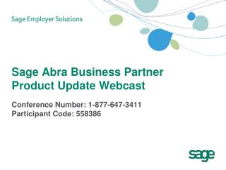 Sage Abra Business Partner Product Update Webcast