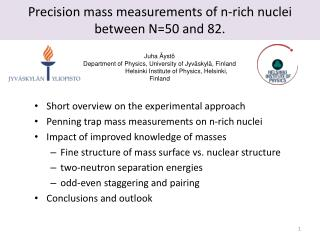 Precision mass measurements  of  n-rich nuclei between  N=50 and 82.