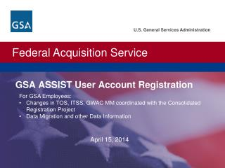 GSA ASSIST User Account Registration