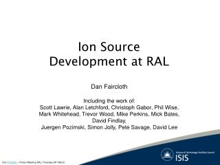 Ion Source Development at RAL