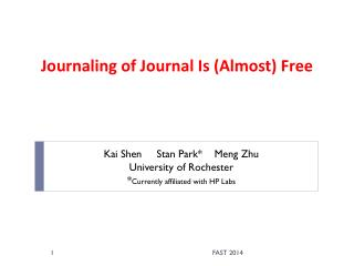 Journaling of Journal Is (Almost) Free