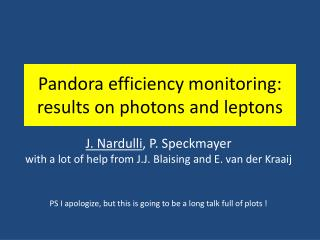 Pandora efficiency monitoring: results on photons  and leptons