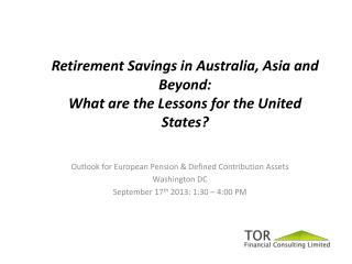 Outlook for European Pension & Defined Contribution Assets Washington DC