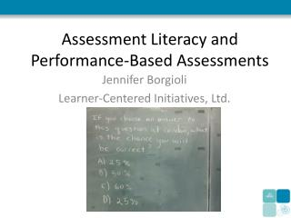 Assessment Literacy and Performance-Based Assessments