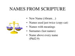 NAMES FROM SCRIPTURE
