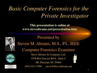 Basic Computer Forensics for the Private Investigator