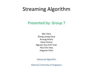 Streaming Algorithm