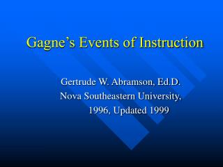 Gagne s Events of Instruction