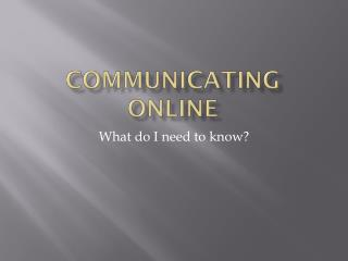Communicating online