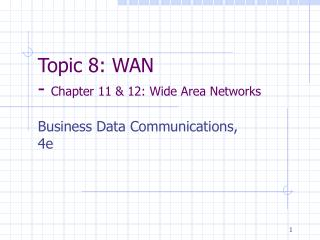 Topic 8: WAN -  Chapter 11 & 12: Wide Area Networks