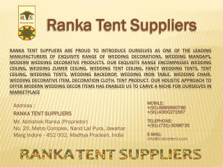 Address : RANKA TENT SUPPLIERS