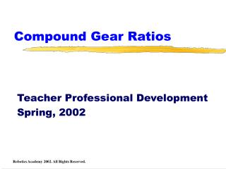 Compound Gear Ratios