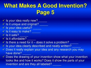 What Makes A Good Invention? Page 5