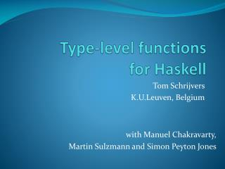 Type-level functions  for Haskell