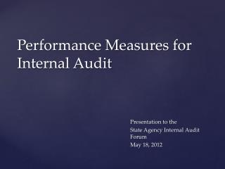 Performance Measures for Internal Audit