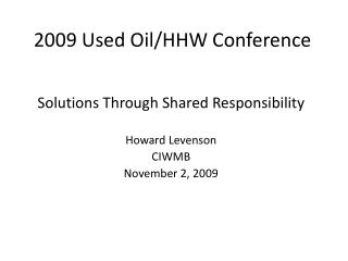 2009 Used Oil/HHW Conference