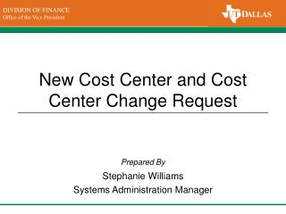 New Cost Center and Cost Center Change Request