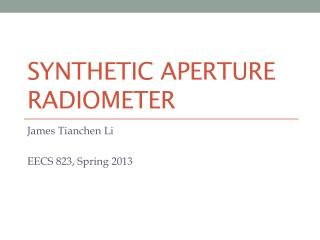 Synthetic Aperture  Radiometer