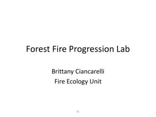 Forest Fire Progression Lab