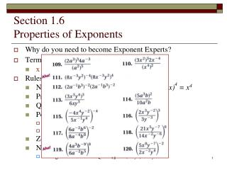 Section 1.6 Properties of Exponents