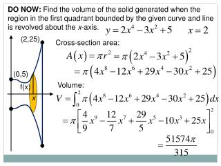 DO NOW:  Find the volume of the solid generated when the