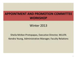 APPOINTMENT AND PROMOTION COMMITTEE WORKSHOP