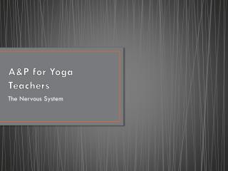 A&P for Yoga Teachers