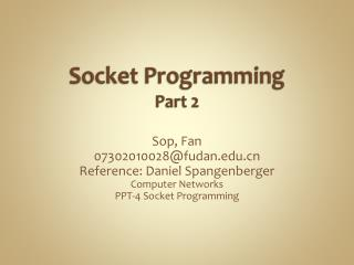 Socket Programming Part 2