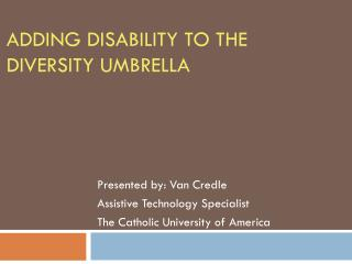 Adding Disability to the Diversity Umbrella