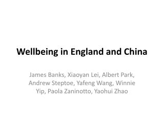 Wellbeing  in  England and China