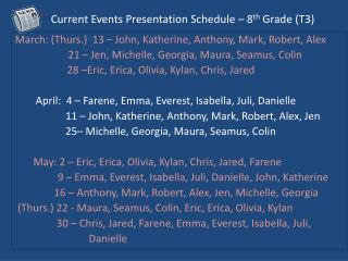 Current Events Presentation Schedule – 8 th  Grade ( T3)