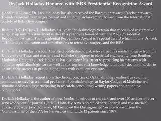 Dr. Jack Holladay Honored with ISRS Presidential Recognition