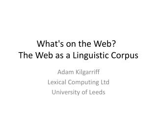 What's on the Web?   The Web as a Linguistic Corpus
