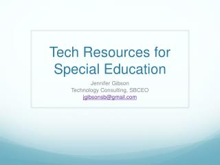 Tech Resources for Special Education