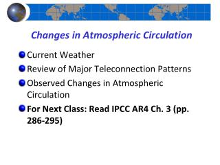 Changes in Atmospheric Circulation