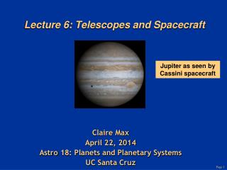 Lecture 6: Telescopes and Spacecraft