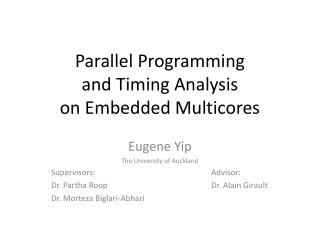 Parallel Programming and Timing Analysis  on Embedded Multicores