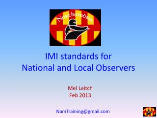 IMI standards for  National and Local Observers