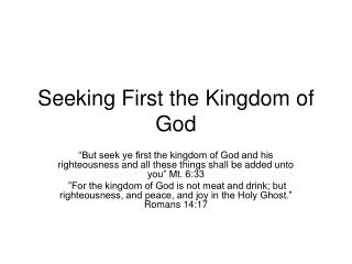 Seeking First the Kingdom of God