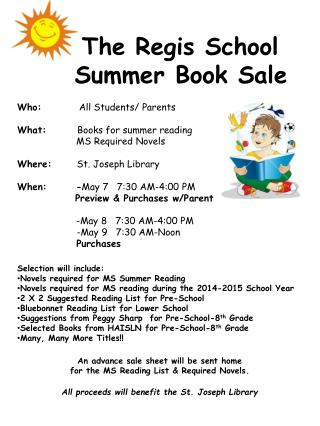 The Regis School               		Summer Book Sale